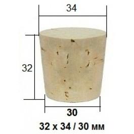 Коническая пробка из натурального корка 32 х 34 / 30 мм